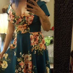 Vintage Dresses - 50s off shoulder floral dress by steady clothing